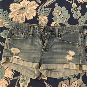 Designer ripped jean short
